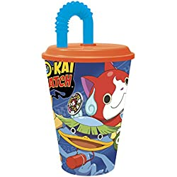Yo-Kai Watch–Bicchiere con coperchio e canna 430ml, Stor 87230)