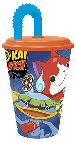 yo-kai Watch – Becher mit Deckel und Zuckerrohr 430 ml (Stor 87230) (Party Supplies Insekten)
