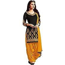 Rensil Women's Black & Yellow Poly Cotton Dress Material