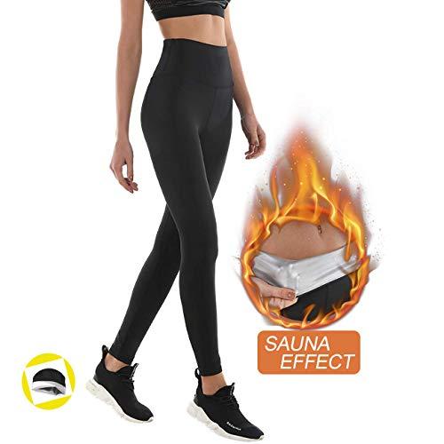 Leggings dimagrante donna fitness, pantaloni sportivi vita alta, leggings anticellulite in nanotechnologie per sudorazione - effetto snellente, contenitivo, push up - palestra/yoga/running (xl, black)