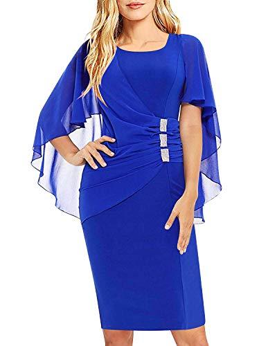 bb04d4a3126f SOLERSUN Womens Chiffon Plus Size Ruffle Flattering Cape Sleeve Business  Wear to Work Bodycon Party Pencil Dress
