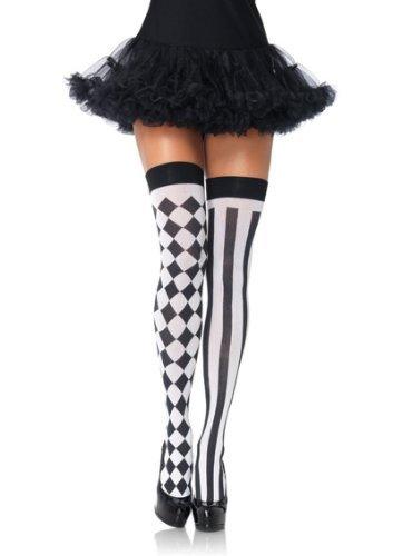 Sexy Spaß weiß schwarz Harlekin Oberschenkel hoch HALTERLOS OVERKNEE Socken Halloween Kostüm Hofnarr Clown - Schwarz, One (Fun Size Kostüme Halloween)