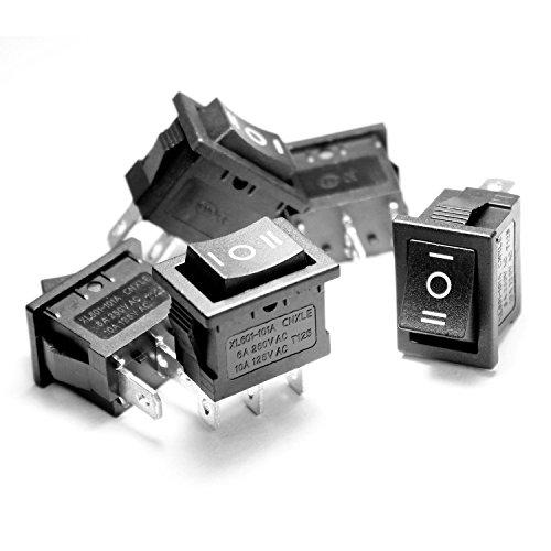 5 x AC10A 125V / 6A 250V 3 Pin EIN/AUS/EIN SP3T Snap in Mini Wippschalter - Snap In Wippschalter