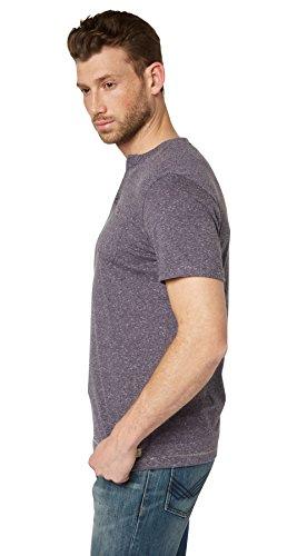 TOM TAILOR Herren T-Shirt Special Melange Henley Blau (cosmos blue 6814)