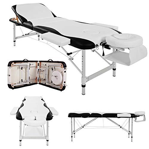 Bmt - lettino deluxe professionale in alluminio, per massaggi, tatuaggi e fisioterapia, portatile, pieghevole, a 3 sezioni, con poggiatesta, braccioli e custodia di trasporto, colore bianco