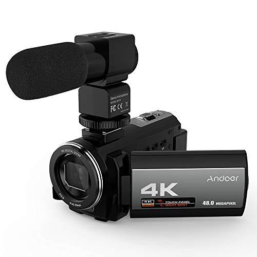 Andoer videocamera 4k digitale video camera hdv-214k 16x zoom digitale schermo lcd 3.0 24mp visione notturna microfono con una batteria ricaricabile 2500mah