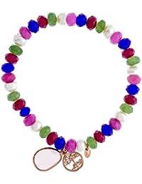 Córdoba Jewels | Pulsera de Plata de Ley 925 bañada en oro rosa y piedra semipreciosa con cuentas multicolor. Diseño Bicolor árbol de la vida Rosa