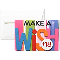 18 ans - faire un voeu - make a wish - carte de voeux avec enveloppe (10,5 x 15 cm) - carte faite à la main - blanc à l'intérieur
