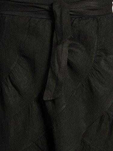 CASPAR RO017 leichter langer Damen Leinenrock / Sommerrock / Maxirock / Zigeunerrock Schwarz