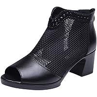 Sandalias para Mujer Talla Grande con Malla Zapatos De 6cm Tacón Medio Mujer Primavera Verano Casual Sneaker Zapatos De Boca De Pescado,Sandalias De Punta Abierta JORICH