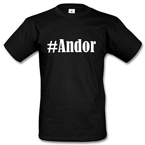 T-Shirt #Andor Hashtag Raute für Damen Herren und Kinder ... in den Farben Schwarz und Weiss Schwarz