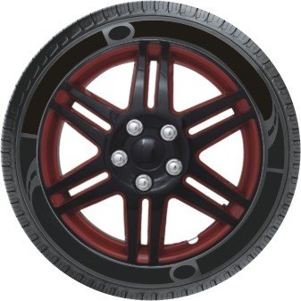 Oshotto Premium OSHO-WC05RB 13-inch Black and Red Double Paint Finish Universal Fitting-Push Type Car Wheel Cover (Set of 4)