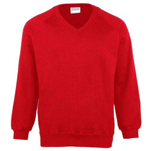 Maddins Kinder Unisex Sweatshirt Coloursure, V-Ausschnitt (2 Stück/Packung) (Brustumfang 61cm) (Rot) (Lanyard Habe)