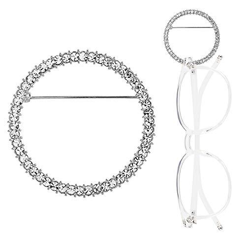 TERAISE Brillenhalter Brosche Klassische Mode Metall Ring Sonnenbrille Halskette Einfache Design Brosche Schmuck(Silver)