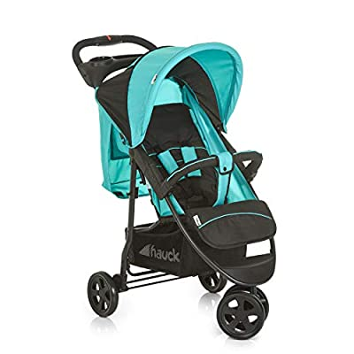 Hauck Citi Neo II, 3 Wheel Pushchair with Lying Position, Compact One Hand Folding, from Birth to 15 kg, Lightweight Only 7.5 kg, with Cup Holder, Caviar/Aqua