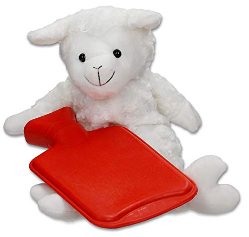 Wärmflasche Schaf Kuscheltier Bezug - 0,7 Liter Naturkautschuk Bettflasche ideal für Kinder - Überzug waschbar und extra flauschig