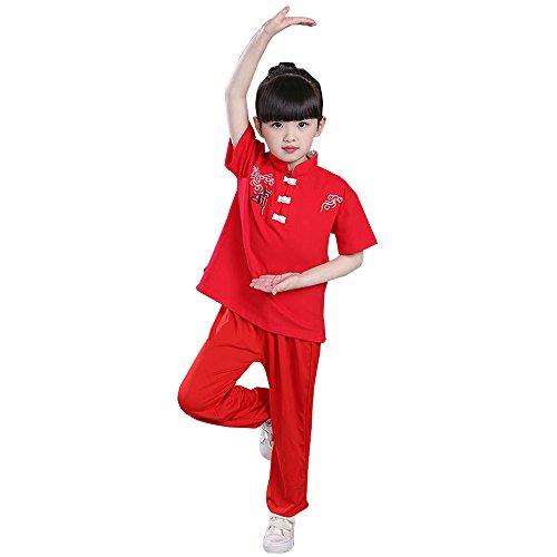 KINDOYO Unisex Mädchen Junge Tai Chi Kung Fu Tang Anzug Hemd Hose Set Kampfsportanzug Darbietungen Tanzkostüme