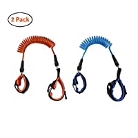 Child Anti-Lost Rope,Jiechang Adjustable Anti Lost Safety Wrist Link Rope Safety Velcro Wristband to Prevent Children from Losing,2 Pack (1.5m/2.5m, Blue/Orange)
