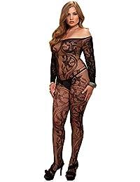 Leg Avenue 89106Q - Spitzen Schulterfreies Catsuit Ohne Schritt Mit Langen Ärmeln Dessous Damen Reizwäsche , Plus Size (EUR 42-46)