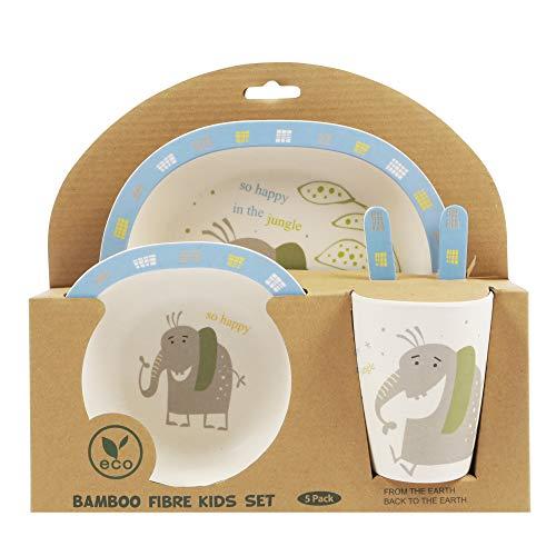 ORNAMI 5-teiliges Bambus-Geschirrset für Kinder, Elefant Design - Kinder-Geschirrset mit Bambusteller, Kleinkindbesteck, Bambusschale und Kinderbecher - umweltfreundlich und BPA-frei -