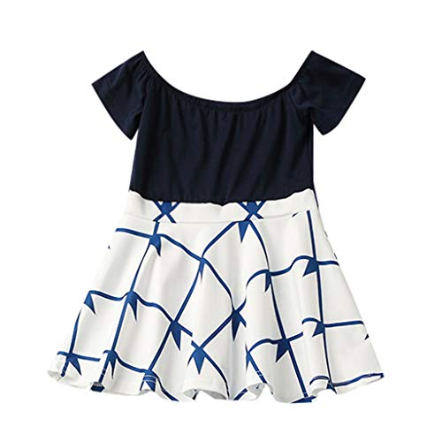 Livoral Mommy & Me Kind Kurze Hülse O-Ansatz Splicing-Rock-Familien-Kleidung-Kleid(Blau(Baby),80)