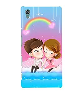 Printvisa Animated Romantic Couple With A Rainbow Background Back Case Cover for Sony Xperia Z5::Sony Xperia Z5 Dual