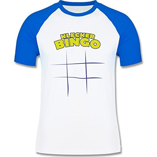 Küche - Klecker - Bingo - zweifarbiges Baseballshirt für Männer Weiß/Royalblau