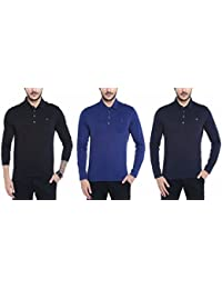 Dream Of Glory Inc. Men's Branded Full Sleeve Cotton Polo With Woven Collar And Pocket In Plus Sizes T-Shirts...