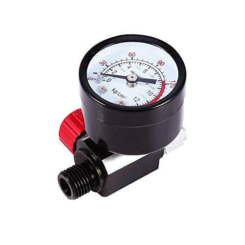 Air Control Gauge (CWeep Pressure Regulator, 1/4inch BSP Auto Spray Gun Air Regulator with Pressure Gauge Diaphragm Control DH)