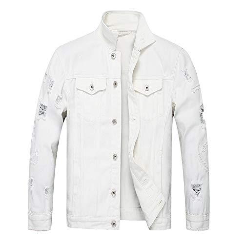 KPILP Herrenmode Herbst Winter Taste Einfarbig Vintage Jeansjacke Tops Bluse Mantel Outwear Langarm-Shirt(X3-weiß,L) -