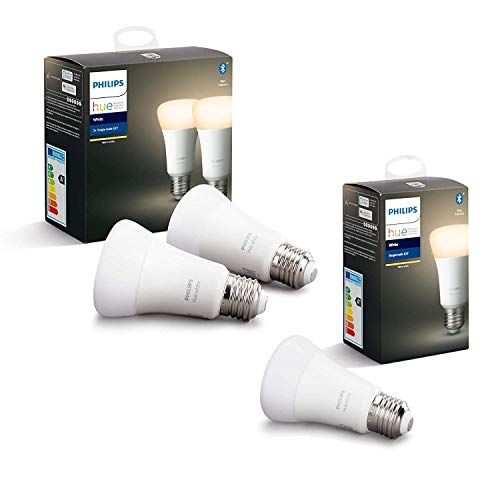 Philips Lighting Hue White Lampadine LED Intelligenti, Attacco E27, 9 W, 3 Pezzi