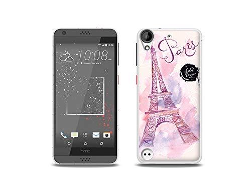 etuo Handyhülle für HTC Desire 530 - Hülle, Silikon, Gummi Schutzhülle - Rosa Eiffelturm