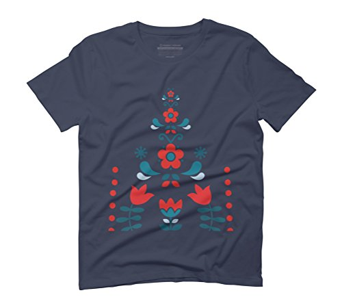 Retro Nordic Folk Men's Graphic T-Shirt - Design By Humans Navy