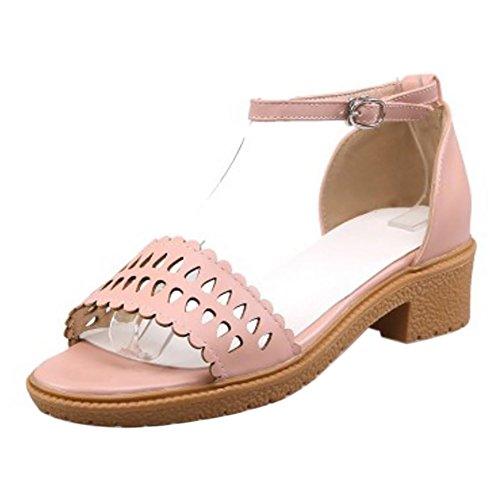COOLCEPT Femmes Mode Cheville Sandales Orteil ouvert Bloc Chaussures Rose