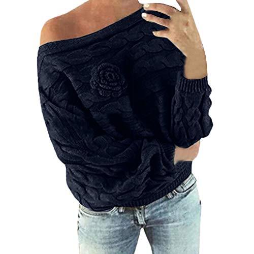 Strickpullover Sannysis Damen Sweater Langarm Sweatshirt Herbst Winter Pulli Halskragen Dreidimensional Gestrickte Blume Fledermaus Pullover