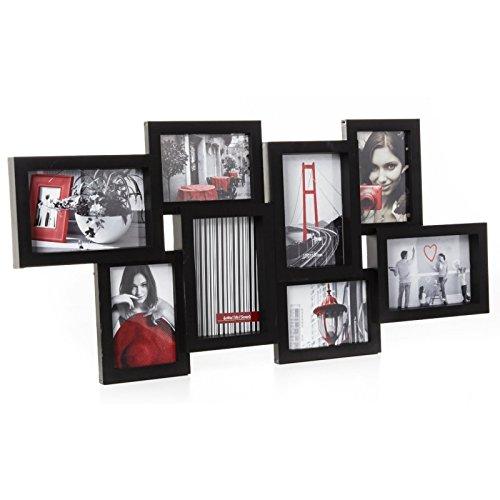 Cadre photo pêle-mêle mural coloris noir capacité 8 photos
