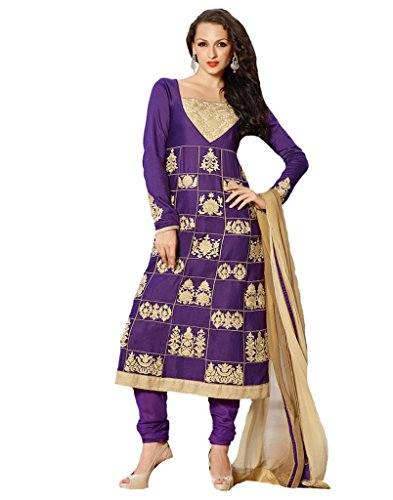 Inddus Women Cotton Satin Embroidered Purple Anarkali Salwar Kameez
