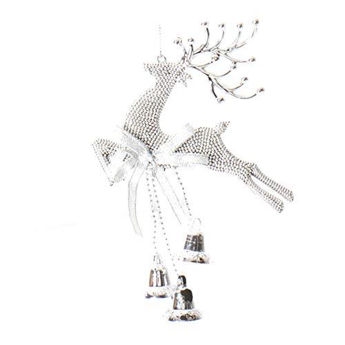 CAOLATOR Deko-Hänger Weihnachten Glocke Dekoration Weihnachtsbaum Deko Elch Weihnachtsbaumschmuck Anhänger - Silber