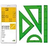 Juego escuadra cartabon regla 30 cms y semicirculo en petacaliderpapel verde.
