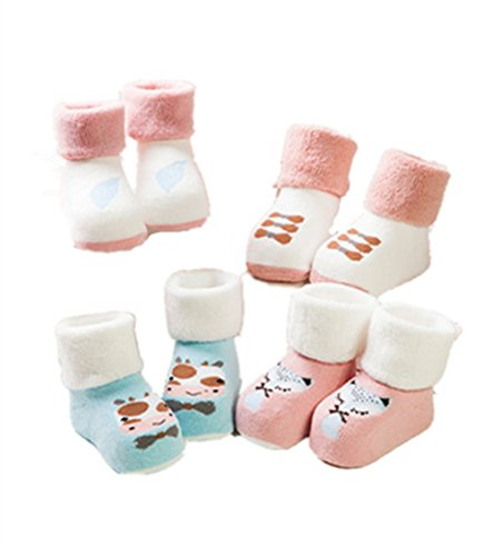 Stillshine 4 Paar Baby Socken Baumwolle warm Jungen und Mädchen Handtuch Socken verdickt Terry Cartoon gestreiften Kinder Socken 0-5 Jahre alt (S: (1-3 Jahre alt), Farbe3) -