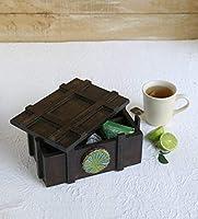Boîte à thé en bois faite à la main avec compartiment artisanal, Wooden Tea Box, compartiment de rangement, souvenir boîte à organisateur de thé pour la maison chauffante, cadeau par Storeindya