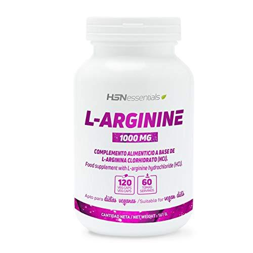 Arginina 1000mg de HSN Essentials   Mejora el Rendimiento Deportivo, Potencia la Calidad de Relaciones Sexuales, Apto Vegano, Sin Gluten, Sin Lactosa, 120 cápsulas