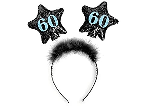 Haarreif mit Federn und Sternen Scherzartikel Tiara Geschenk-Idee (schwarz 60) (Ideen Für Ein Geschenk)