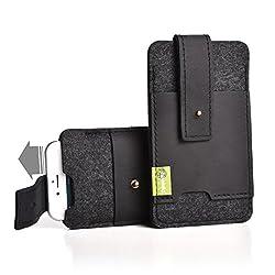 """Almwild® Hülle Tasche für Apple iPhone 8/7/6 Plus MIT Apple Leder Case/Silikon Case. Modell """"Zuaknopft"""" mit Verschluß und EC-Kartenfach aus Echtleder. Schiefer- Grau,Schwarz aus Natur- Filz."""