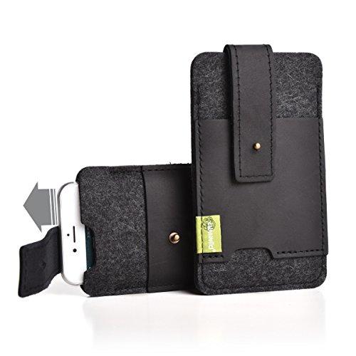 """Almwild® Hülle Tasche für Apple iPhone 8/7/6 Plus MIT Apple Leder Case/Silikon Case. Modell \""""Zuaknopft\"""" mit Verschluß und EC-Kartenfach aus Echtleder. Schiefer- Grau,Schwarz aus Natur- Filz."""