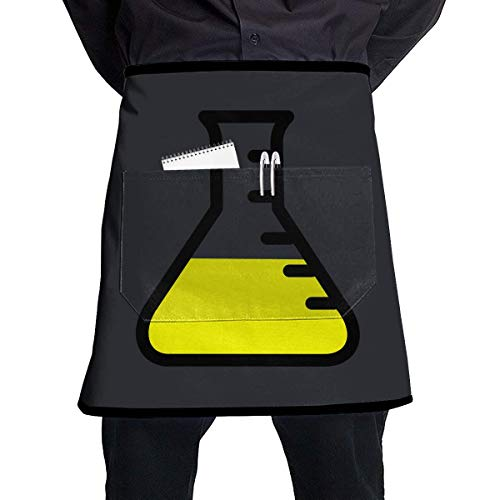 Aprons for Sale Pocket Half Length Short Waist Apron Chemistry Icon Glass Tube Cooking Apron with Pockets Home Kitchen Cooking Pinafore