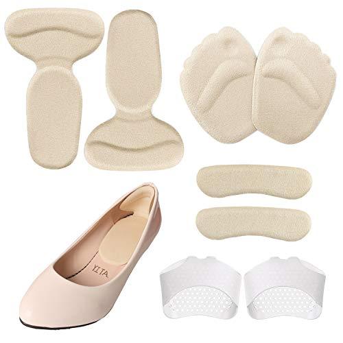 cococity 4 Paar High Heels Kissen | Antislip Silikon Fersenkissen, Fersenhalter, Vorfuß Kissen, Ballenpolster, Heel Liner, Geleinlagen für Fuß Schmerzen Druck & Verbessern Schuhe zu Groß - High Heel 4