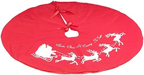PEARL Weihnachtsbaum-Teppich: Weihnachtsbaum-Decke in Rot & Weiß mit Santa-Claus-Motiv, Ø 100 cm (Weihnachtsbaum-Ständer-Decke)