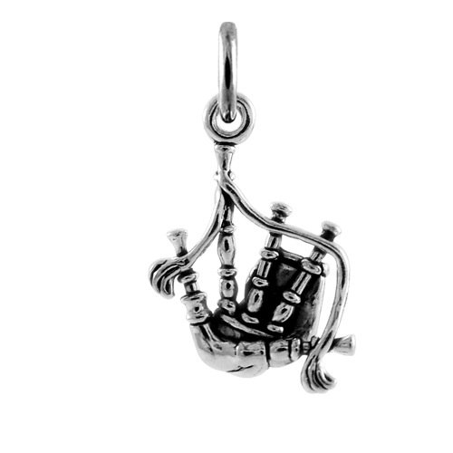 TheCharmWorks Sterlingsilber 3D Dudelsack Charmanhänger | Sterling Silver 3D Bagpipes Charm