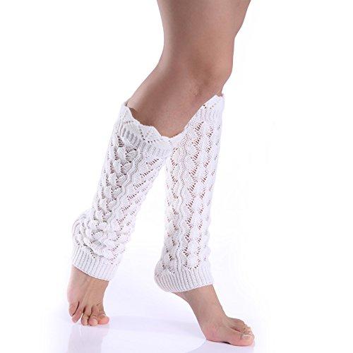ellte Kante Nachahmung Spitze gestrickte Wolle warmen Bein setzt angehäuften Socken weiblichen Herbst und Winter Socken gesetzt (Color : White) ()